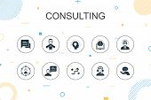 Consulting Trendy Infographic Template. Thin Line Design With Expert, Knowledge, Experience, Consult poster