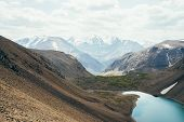 Atmospheric Alpine Landscape To Beautiful Glacial Lake In Highland Valley Among Rockies. Big Snowy M poster