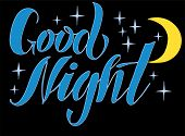 Vector Illustration Of Good Night Text For Logotype, T-shirt, Banner, Magazine, Poster, Decoration,  poster