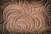 Texture Of Brown Genuine Leather Close-up, With Embossed Twirl Curve, Spiral Trend Pattern. Fashiona poster