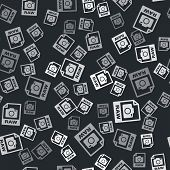 Grey Raw File Document. Download Raw Button Icon Isolated Seamless Pattern On Black Background. Raw  poster