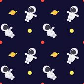 Vector Illustration With Flat Little Astronauts.seamless Pattern. Space. Astronaut. poster