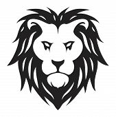 Vector Full Face Of Lion. Animal Predator Head For Graphic Logo Design. Lion King Of Wild Animals Bl poster
