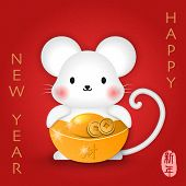 2020 Chinese New Year Of Cute Cartoon Mouse Holding Golden Ingot And Coin. Chinese Translation : New poster