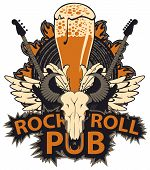 Vector Banner With Lettering Rock And Roll Pub, Bull Skull, Electric Guitars, White Wings, Beer Glas poster