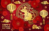 Chinese New Year Rat Vector Greeting Card. Lunar New Year And Animal Zodiac Symbol Of Gold Mouse, Re poster