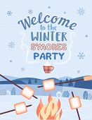 Winter Smore Party Welcome Invitation Vector Poster. Outdoor Fun Retro Cartoon. Welcome Invitation T poster