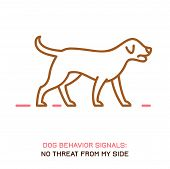Dog Behavior Icon. Domestic Animal Or Pet Language. Peaceful Dog. No Threat From My Side. Doggy Reac poster