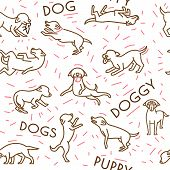Dog Seamless Pattern In A Simple Style. Domestic Animal, Pet Language. Happy Playful Dogs. Doggy Rea poster