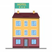 Hotel, Hotel Icon On The Background Of The Urban Landscape. Vector Illustration Of A Hotel. poster
