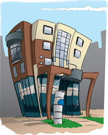 image of building exterior  - Design for a modern office building in and distorted cartoon form - JPG