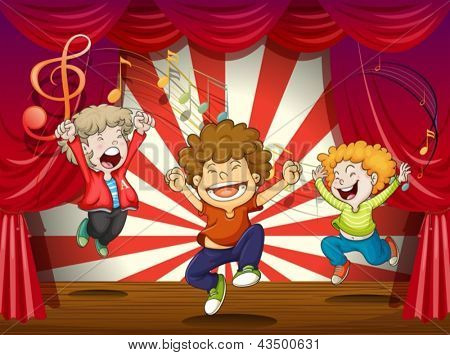 Illustration of kids singing at the stage