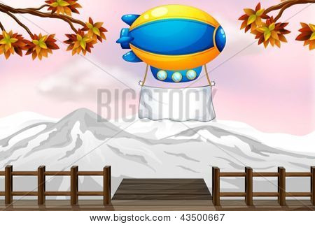 Illustration of a blimp with a banner above the bridge