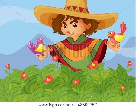 Illustration of a boy in the garden with two birds