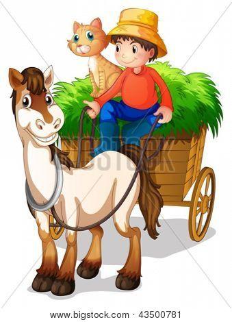 Abbildung eines jungen Mannes mit einem Pferd und einer Katze auf einem weißen Hintergrund