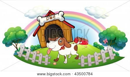 Illustration of a doghouse inside the fence with a puppy on a white background