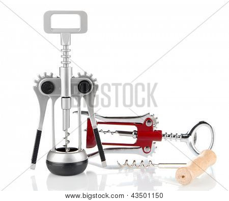 Three kinds of corkscrew, isolated on white