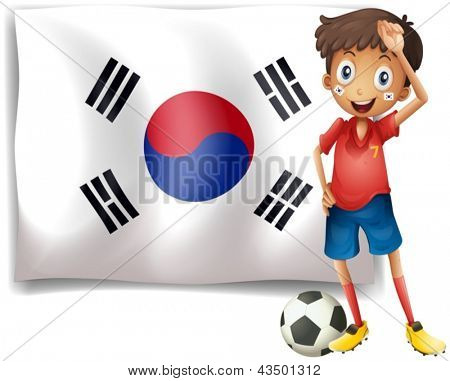 Illustration of a soccer player beside a Korean flag on a white background