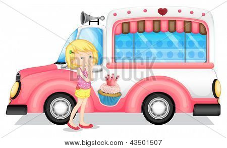 Illustration of a young girl beside the pink bus on a white background