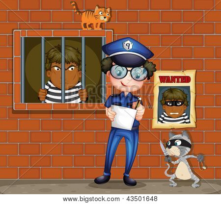 Illustration of a policeman holding a pen and a paper with two cats in the jail
