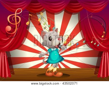 Illustration of a female rat performing at the stage