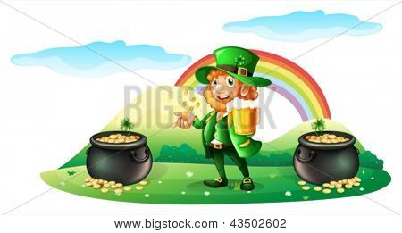Illustration of a man with a mug of beer near the two pots full of coins on a white background