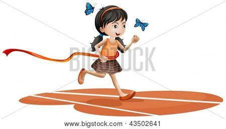 Illustration of a girl running with two blue butterflies on a white background