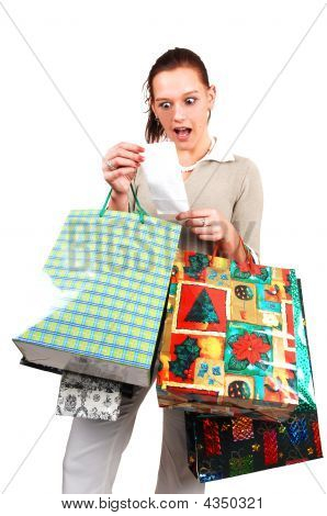 An Very Surprised Shopping Woman.