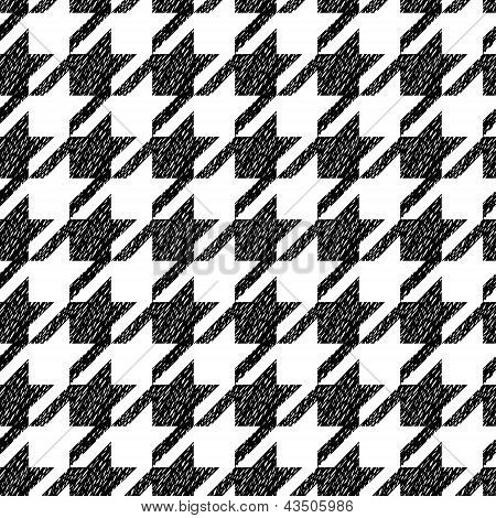 Houndstooth black and white classic seamless pattern, vector