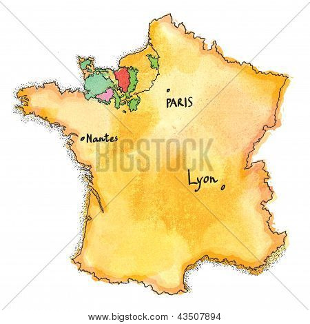 France map watercolor painted