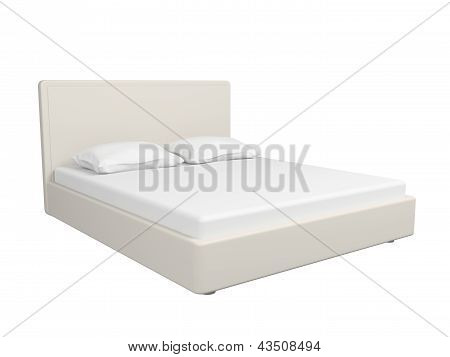 Double White Bed.