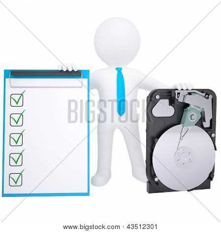 3d white man holding a hard drive