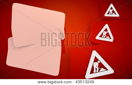 construction site symbol in red background with three nice icons