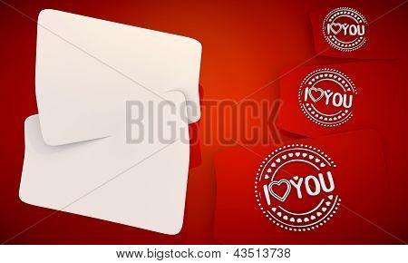 I love you icon in red background with three nice icons