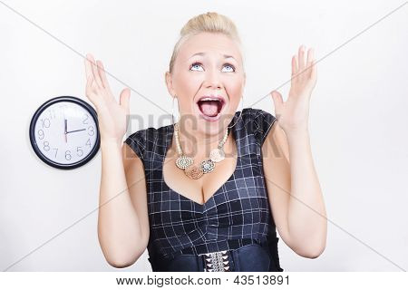 Excited Business Woman Meeting Time Schedule