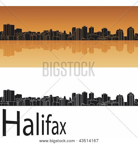 Halifax Skyline In Orange Background