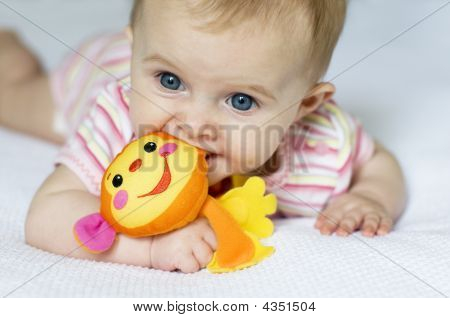 Baby Girl With Monkey