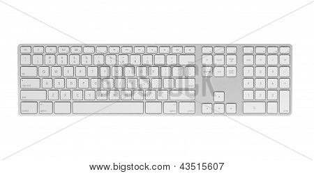 Gray keyboard isolated on white background.