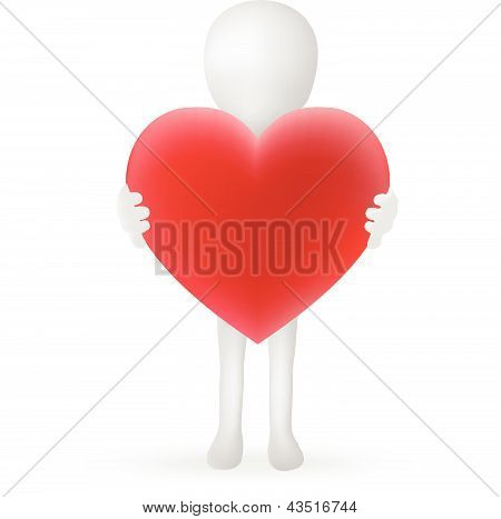 EPS Vector 10 - small 3d man hands holding a heart