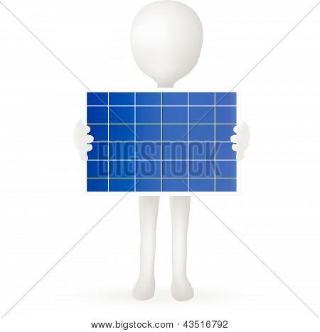 EPS Vector 10 - small 3d man hands holding a solar panel