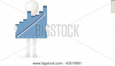 EPS Vektor 10 - kleine 3d Mann Hände halten Barden