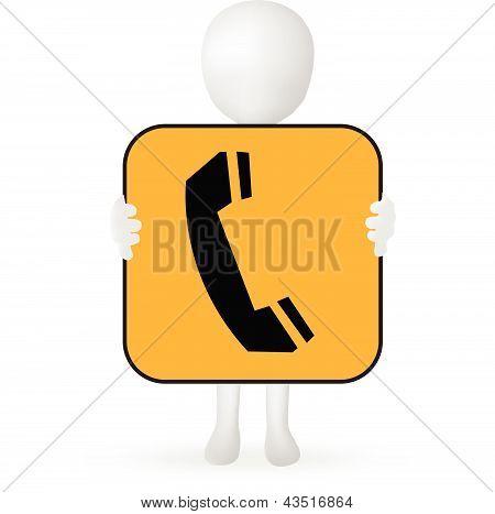 EPS Vector 10 - 3d pequeño hombre las manos con un cartel de teléfono