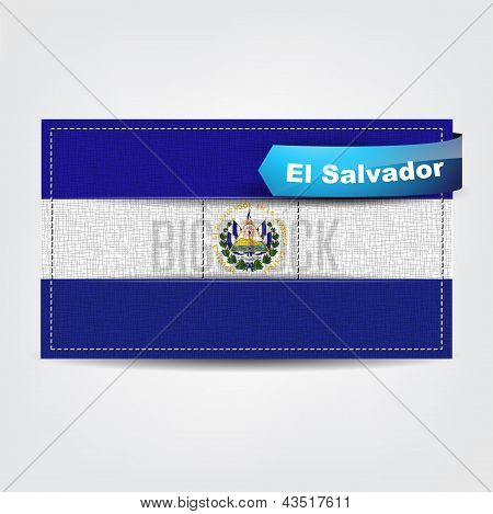 Fabric Texture Of The Flag Of El Salvador