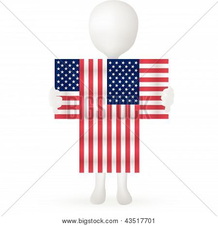 EPS Vector 10 - small 3d man hands holding a USA flag