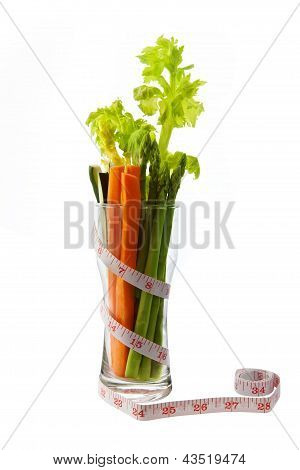 Low calorie vegetable in glass with tape