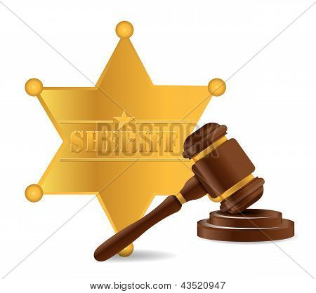 Police Shield And Gavel