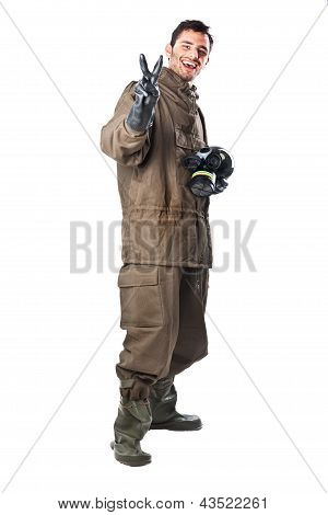 Cheerful Man In Hazard Suit