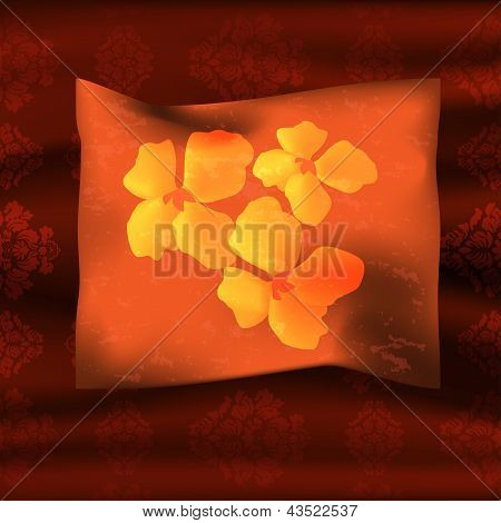 Pillow over coverlet