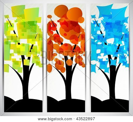 Set of banners with tree