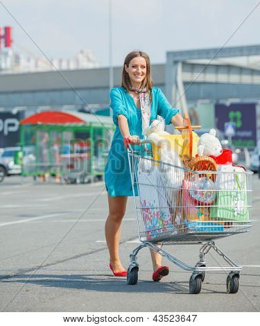 Young girl near supermarket